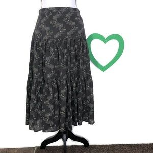 J. Crew Brown with Green Floral A-Line Skirt 10